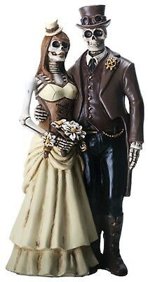 """Dod Day Of Dead Steampunk Couple Bride & Groom  Figurine - New 8"""" Free Shipping"""