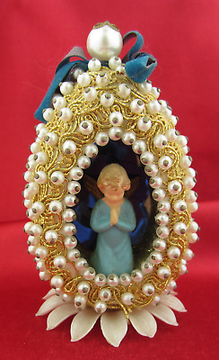 VINTAGE EGG DIORAMA WITH ANGEL  Beaded & Gold Trim Christmas & Easter Decoration