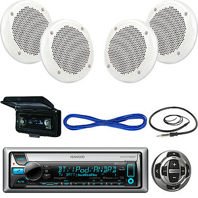 "Kenwood Marine Receiver,Wired Remote, 2X 6.5"" 200W Speaker, Wire, Antenna, Cover"