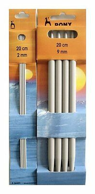 Pony Set of 4 Double Pointed Sock Needles DPN'S 2mm - 10mm length 20cm