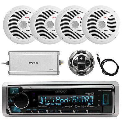 Marine Bluetooth Radio, 4x 6.5'' Speakers, 4-Channel Amplifier, Remote, Antenna