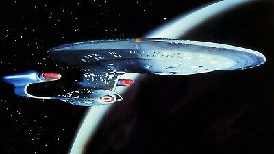 STAR TREK ~ USS ENTERPRISE ORBIT ~ 27x40 MOVIE POSTER NCC-1701-D Next Generation