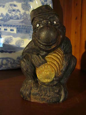 Vintage Cast Iron GORILLA  Bank KOKO THE WISE  wearing Fez  Save for Tomorrow