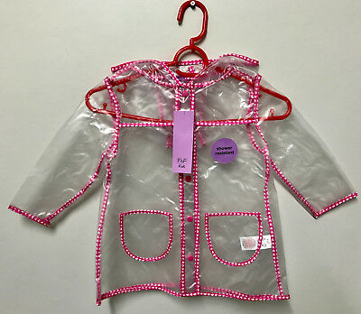 Girls Clear Rain Mac F&F With Pink Butterfly Detailing Variety Sizes