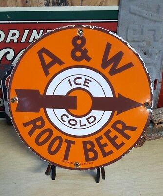 A&W ROOT BEER porcelain sign soda coin op vending machine fountain cola