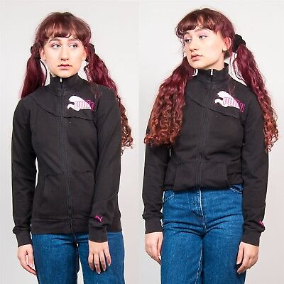 2d5ade0a3fc9 Vintage Puma Logo Womens Black Zip Up Tracksuit Jacket Top 90 s Style Sports  6 8