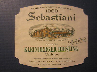 Old Vintage 1969 SEBASTIANI Kleinberger Reisling WINE LABEL - Sonoma Valley CA.
