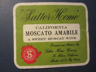 Old Vintage c.1970 - SUTTER HOME Moscato Amabile - WINE LABEL - St. Helena CA,