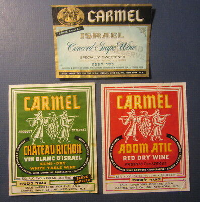 Lot of 3 Old Vintage CARMEL - ISRAEL - WINE LABELS - Chateau Richon - Adom Atic