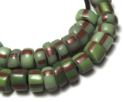 61 Rare Small Stunning Old Mixed Green Striped Venetian Antique Slices Beads