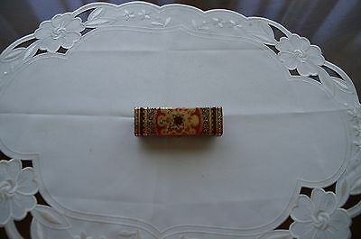 Italian Vintage Fiocchi Lipstick Case Holder with Mirror Tapestry Design