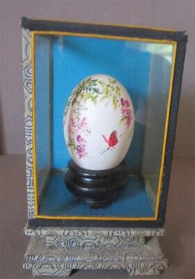 Vintage Hand Painted and Signed Egg In Glass Display Box