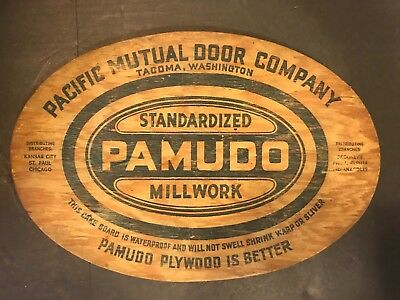 Vtg Pacific Mutual Door Co PAMUDO Standardized Millwork Advertising Cake Board