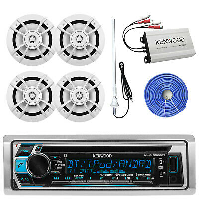 "400W Marine Amplifier,Bluetooth Kenwood CD Radio,6.5""Speakers and Wiring,Antenna"