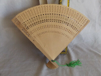 Vintage Asian Handcrafted 26cm Hand Fan ~ Thin Wooden Slats ~ Floral Pattern MIP