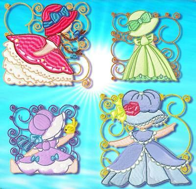 Sunbonnet Blocks   ##12 Machine Embroidery Designs Cd 2 Sizes
