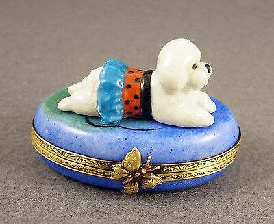 New French Limoges Trinket Box Bichon Frise Dog Puppy In Cute Dress On Blue Box
