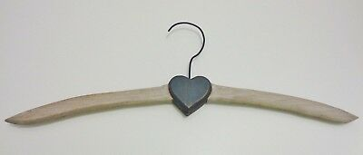 Vintage Wooden Hanger Whitewashed with Blue Heart