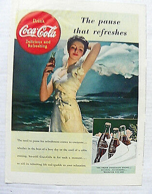 """1939,aug.21 Life Magazine """"the Pause That Refreshes""""  Woman In Gown By Ocean"""