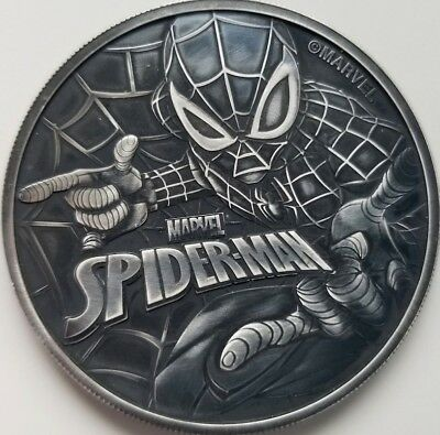 2017 1 oz Tuvalu Spiderman Marvel Series .9999 Pure Silver Coin in Antique Black