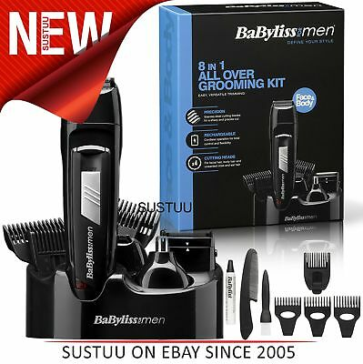 Babyliss New 7056CU Men's 8 In 1 Cordless Grooming Trimmer Kit│Face & Body Hair│