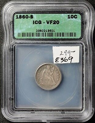 1860-s Liberty Seated Dime.  In ICG Holder.  VF20.  e369