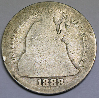 1888-s Seated Liberty Dime Circulated 80498