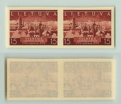 Lithuania 1940 SC 314 MNH imperf color proof pair . f2672