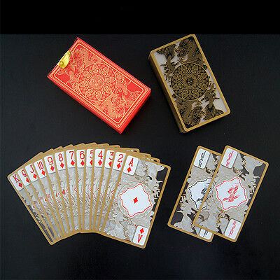 Waterproof Gold Edge Poker Game Playing Cards with Transparent PVC Dragon Set