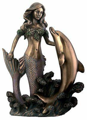 Mermaid with Dolphin Sculpture Figurine Ocean Sea Life Statue Decoration New