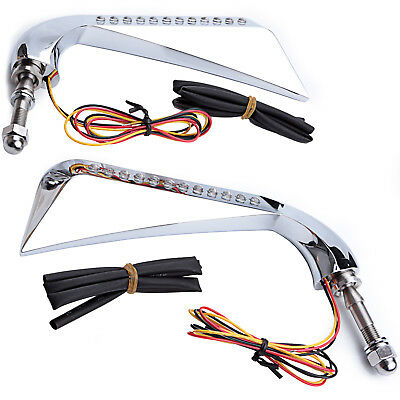 Aluminum Axe Side Rearview Mirror LED Turn Signal Running Light for Harley Dyna