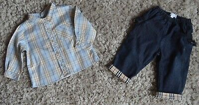 Baby Boys Burberry Designer Clothes Bundle Blue Checked Shirt & Jeans 1 Year