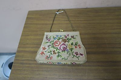 """Vintage Tapestry Petit-Point Handmade Floral Needlepoint Purse 5"""" x 6"""""""