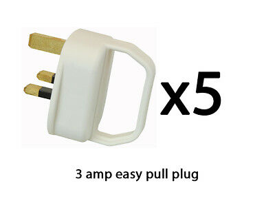 Easy Pull Mains Plug Top 3A Amp White Fused arthritis disability elderly x 5