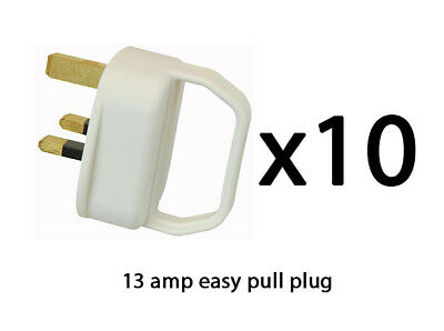 Easy Pull Mains Plug Top 13A Amp WHITE Fused arthritis disability elderly x 10