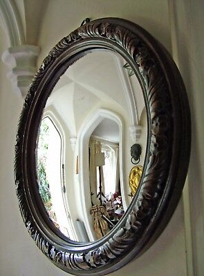 Large Antique Carved Walnut Framed, Convex Mirror. 53 Cm. Dia.