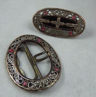 Indonesian Antique Diamond Set Court Buckle & Slide - Java Kraton Style