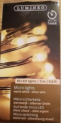 NEW Warm White Battery Operated 60 LED Fairy Rice Light W/Timer Yard Garden Vase