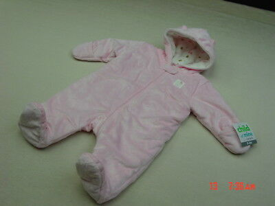 NWT Infant Girl 0-6 M Months Pink Kitty Kitten Winter Footed Snowsuit Snow Pram
