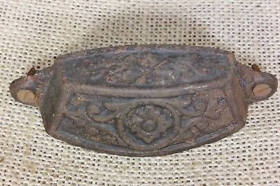 "old Bin Drawer Pull handle ferns flower antique 3 1/2"" vintage rustic cast iron"