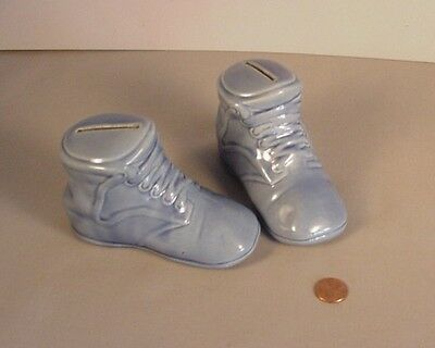 Vintage  pottery 2 Baby Boots Coin Bank Old American shoes still banks