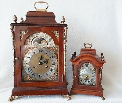 Antique Clock English Mantel Shelf Bell Strike & Moonphase Pendulum 46cm High