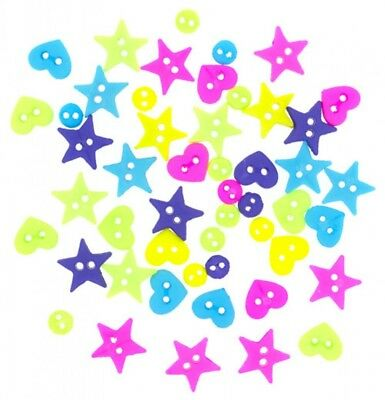 Dress It Up Shaped Novelty Buttons Neon Minis DressItUp-7703 per pack of 45