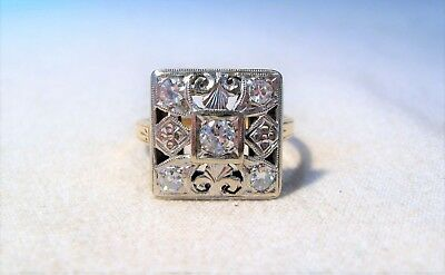 14K White & Yellow Gold Vintage Art Deco Filigree Square Style Diamond Ring K629
