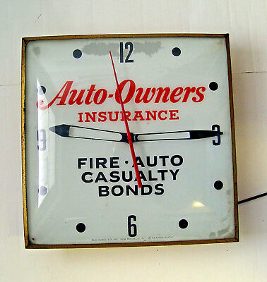 LIGHT-UP 1950-60s AUTO OWNERS INSURANCE ADVERTISING TIN & GLASS SIGN PAM CLOCK