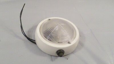 """5"""" Round Vintage White Metal & Glass Car Boat Ceiling Wired Dome Light"""
