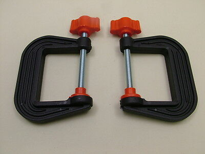 Pair of mini G-clamps 50mm new,British made,high strength nylon, crafts, models