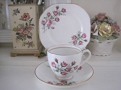 Pretty Vintage Early Duchess Pink Roses Fine Bone China Trio