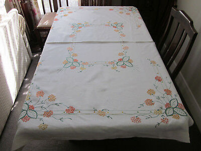 Gorgeous Hand Embroidered Rectangular Tablecloth With Orange And Lemon Flowers