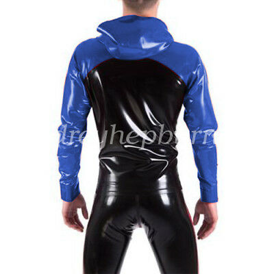 100% New Latex Rubber Gummi Men Handsame Hooded Jacket And Pants Suit XXS-XXL